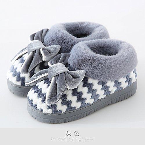 LaxBaMesdames Accueil Marbre Chaussons doux semelle dCotton-Padded Shoesgray agréable 37-38 pieds à porter