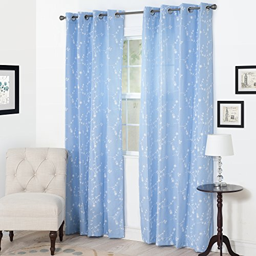 (Semi Sheer Grommet Style Curtains - Floral Embroidered Pattern Window Curtain Panel for Living Room Bedroom, 95 x 54 Inch by Lavish Home (Light Blue))