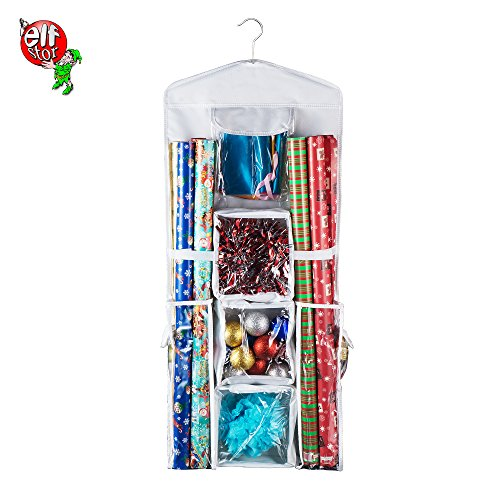 Elf Stor | Deluxe | Hanging Gift Wrap and Bag Organizer | Space Saving | Freestanding