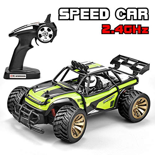 Jujuism RC Car 1:16 Scale Electric Race Remote Control Car Road Vehicle 2.4GHz Radio 2WD High Speed Racing Monster Truck Desert Buggy Crawler Hobby RC Car Toy Gift