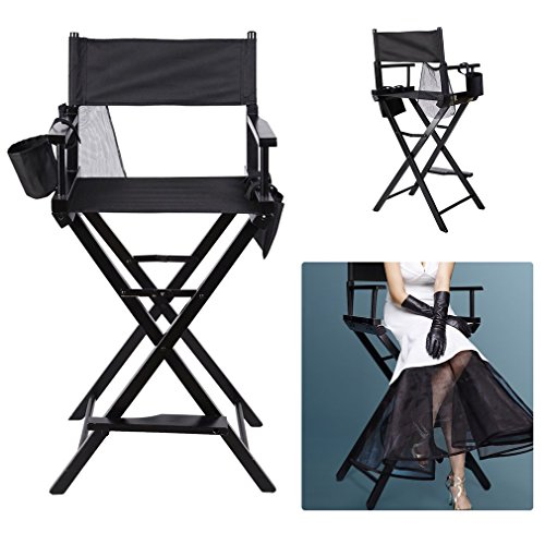 - ICOCO Makeup Chair, Premium Quality Extra-Wide Portable 30 inches Folding Makeup Artist Director's Chair - Black Wood Frame with Black Canvas, Bar Height