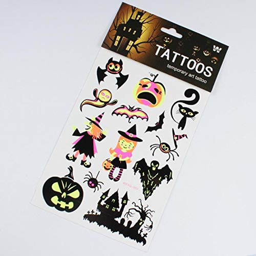 KathShop 1pcs Glow in The Dark Halloween Decoration Luminous Tattoo Stickers DIY Temporary Body Art Tattoo Fluorescent Stickers