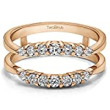 Curved Wedding Ring Guard Enhancer with White Sapphire in Rose Gold Plated Sterling Silver (0.35 ct. twt.)