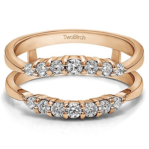 TwoBirch Rose Gold Plated Sterling Silver Curved Wedding Ring Guard Enhancer with Charles Colvard Created Moissanite (0.32 ct. tw.)