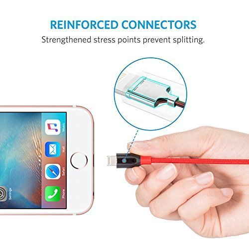 Anker PowerLine+ Lightning Cable (3ft) with Pouch, Nylon Braided Charging Cable for iPhone, iPad and More (Red) by Anker (Image #3)