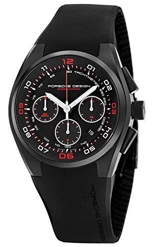Porsche Design Mens Black Face Chronograph Date Swiss Automatic Black Rubber Watch 6620.1347.1238