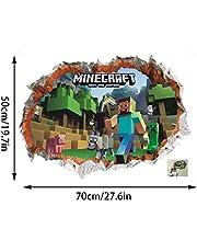 GTRB Muursticker Minecraft Cartoon Game 3D Muursticker voor Kinderkamer Muurposter Huiscultuur Muurtattoo Poster Ruimte Wereld 70 * 50 cm