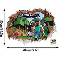 GTRB Muursticker Minecraft Cartoon Game 3D Muursticker voor Kinderkamer Muurposter Huiscultuur Muurtattoo Poster Ruimte…