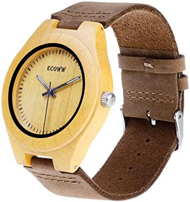 Eco Wood Watch - Unisex Lightweight Wrist Wooden Watch, Handmade Watch with Stylish Appearance, Cowhide Leather Strap (Yellow)