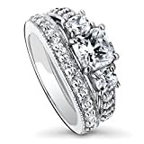 BERRICLE Rhodium Plated Sterling Silver Cubic Zirconia CZ 3-Stone Engagement Ring Set Size 5