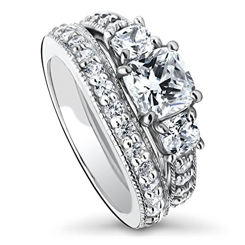 BERRICLE Rhodium Plated Sterling Silver Cushion Cut Cubic Zirconia CZ 3-Stone Anniversary Engagement Wedding Ring Set 2.79 CTW Size 8.5