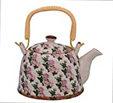 Purpledip Beautifully Painted Ceramic Kettle Tea Pot, Steel Strainer Included,850 ml (10776)