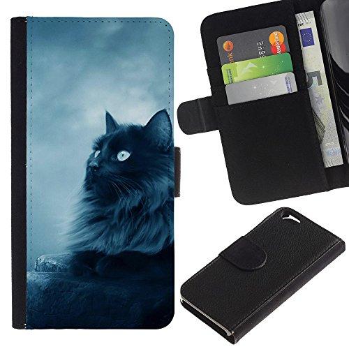 EuroCase - Apple Iphone 6 4.7 - black Persian cat nebelung longhair - Cuir PU Coverture Shell Armure Coque Coq Cas Etui Housse Case Cover