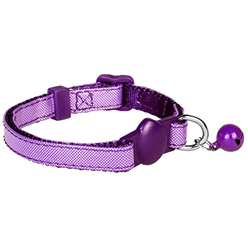 "Blueberry Pet Pack of 1 Cat Collar, Silver Metallic PU & Nylon Webbing with Orchid Webbing Adjustable Breakaway Cat Collar with Bell, Neck 9""-13"""
