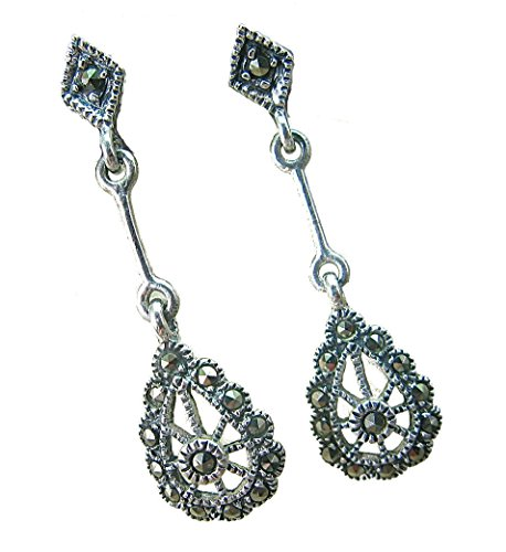 FaithOwl Marcasite Filigree Dangle 925 Sterling Silver Earrings (Lace Marcasite)