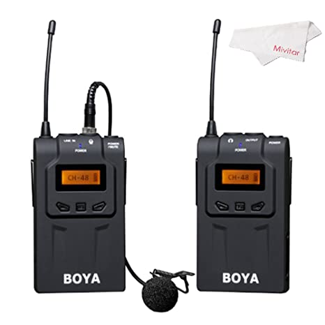 Boya BY-WM6 Ultra High Frequency UHF Wireless Lavalier Microphone System for Canon, Nikon, Sony DSLR Camera Audio Recorder <span at amazon