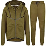Elegant Vaps Boys Tracksuits Kids Slim Fit Fashion Joggers Skinny Fleece Jogging Bottom Hooded Zip Up Top (Khaki, 13-14 Years)