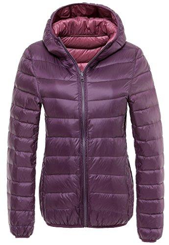 Women's Plus Size Double-side Wear Hooded Down Coat Packable Lightweight Jacket Purple/Pink US X-Small(Asian L)