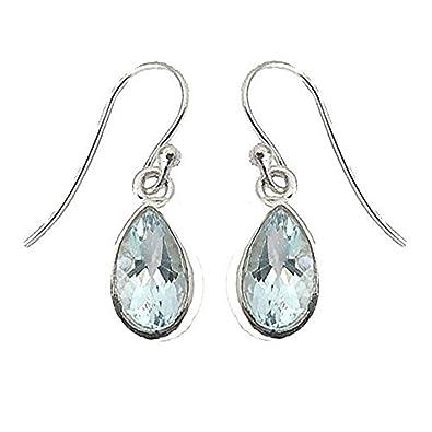 925 Sterling Silver Iolite Oval Drop Fishhook Earrings - August Birthstone OP0T56da
