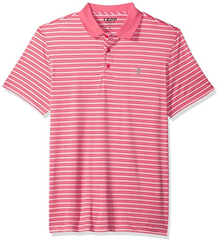 IZOD Men's Short Sleeve Textured Stripe Traditional Golf Polo, Rapture, (Rugby Stripe Mens Polo Shirt)