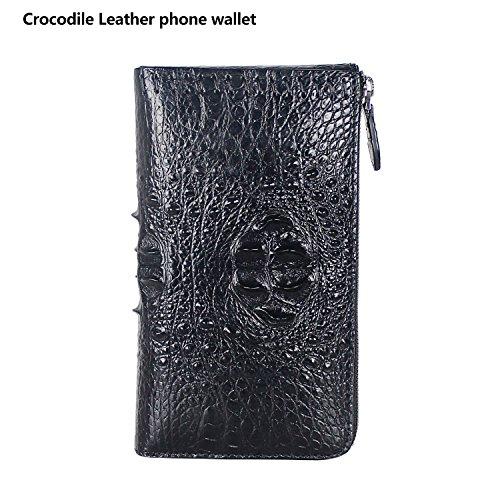 Handmade Authentic RealCrocodile Leather [Alligator] Men Wallet Business Clutch Black - Alligator Breast Pocket Wallet