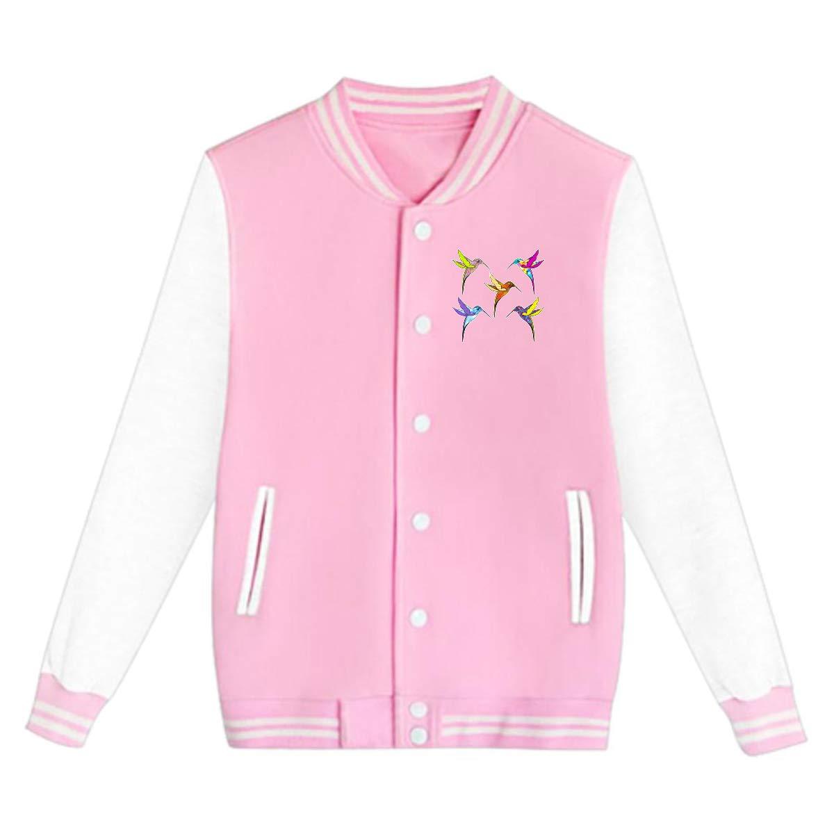 Tina TN Colorful Flying Hummingbirds Teens Boys Girl Varsity Baseball Jacket Long Sleeve Sport Baseball Uniform Jacket Coat Sweater Black