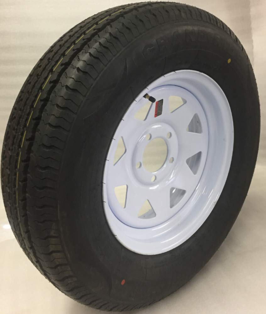 14 White Spoke Trailer Wheel with Radial ST205/75R14 Tire Mounted (5x4.5) bolt circle Wheels Express Inc 14545wsr
