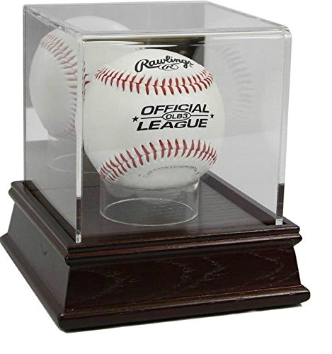 Acrylic Display Case Wood Base - Deluxe Acrylic Baseball Wood Base Ball Display Case with Stand