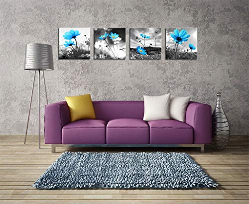 HLJ ART Modern Salon Theme Black and White Peacock Blue Vase Flower Abstract Painting Still Life Canvas Wall Art for Home Decor 12x12inches 4pcs Set Blue, 16x16in