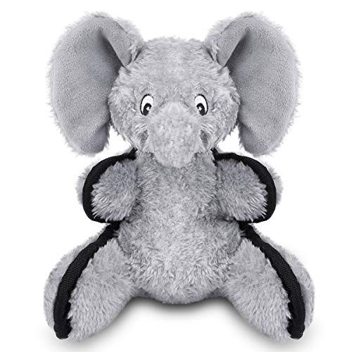 oneisall Plush Stuffed Dog Toys for Aggressive Chewers - Pet Chew Toys for Small Medium Dogs Animals,Grey, Elephant -