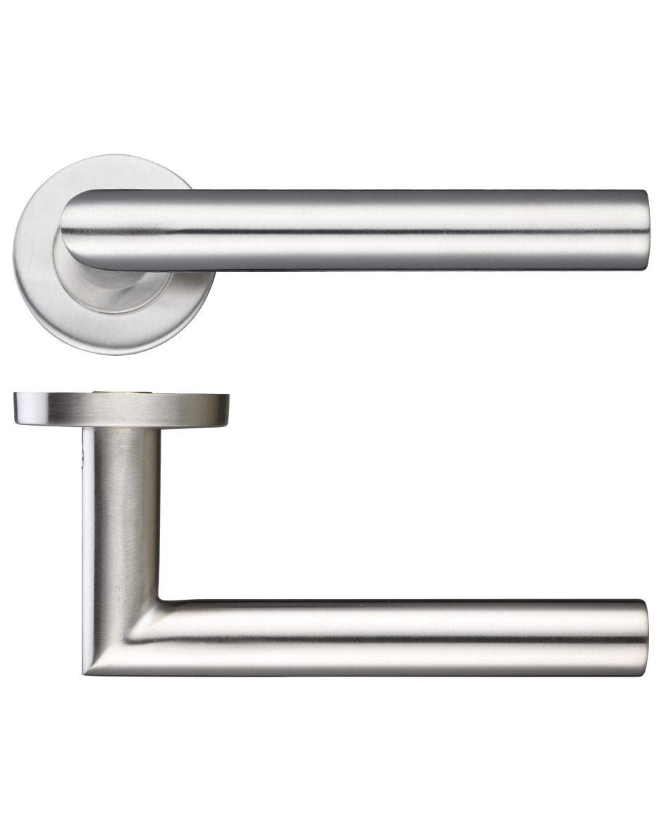 Zoo Mitred Lever Door Handle On Rose Stainless Steel e-hardware ZCS2010SS