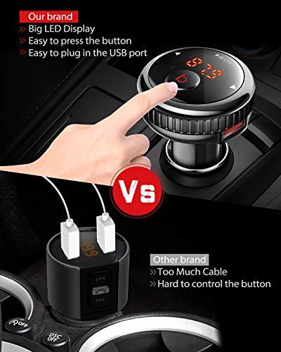 Enhanced-Bass-TECBOSS-Bluetooth-FM-Transmitter-for-Car-FM-Transmitter-Bluetooth-v50-Support-Hands-Free-Calling-Play-Music-2-Port-USB-Car-Charger-World-First-One-Key-Switch-Bass-Technology
