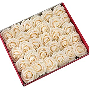 DerBlue 60pcs Artificial Roses Flowers Real Looking Fake Roses Artificial Foam Roses Decoration DIY for Wedding Bouquets Centerpieces,Arrangements Party Home Decorations 53