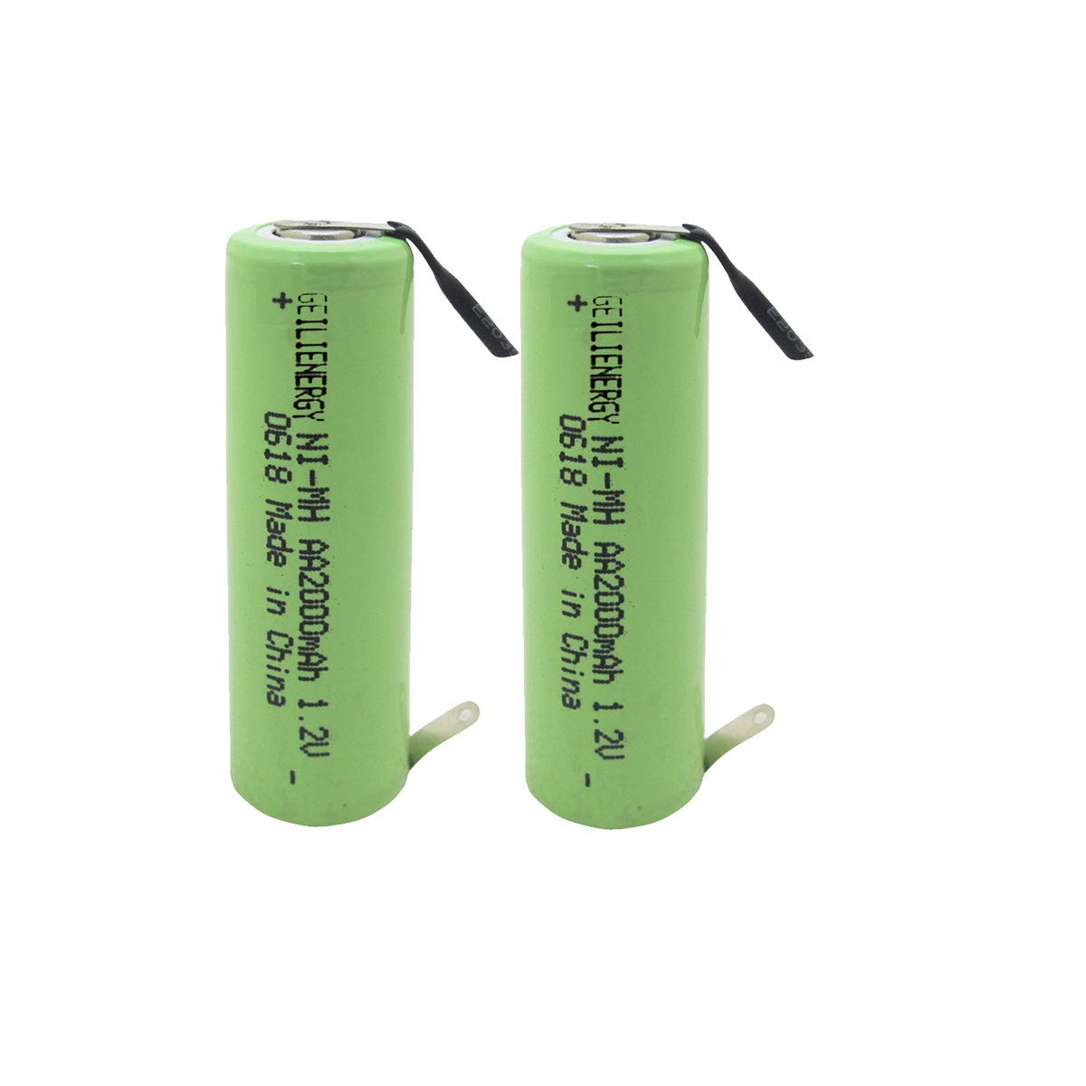 Geilienergy NiMh 1.2V AA 2000mAh Shaver battery with solder tabs for Braun, Norelco, Remington shaver models (Pack Of 2)