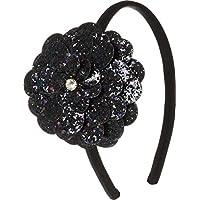 Tiara infantil flor de glitter preta