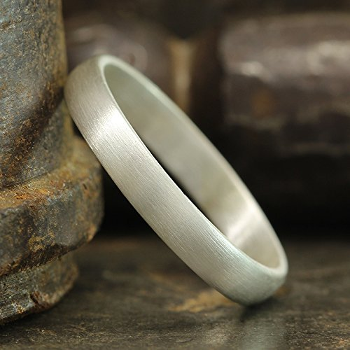 3mm Wedding Band 925 Sterling Silver Satin Finish Matte Half Round Domed Mens Women Unisex Thick Handmade Ring - FREE Engraving