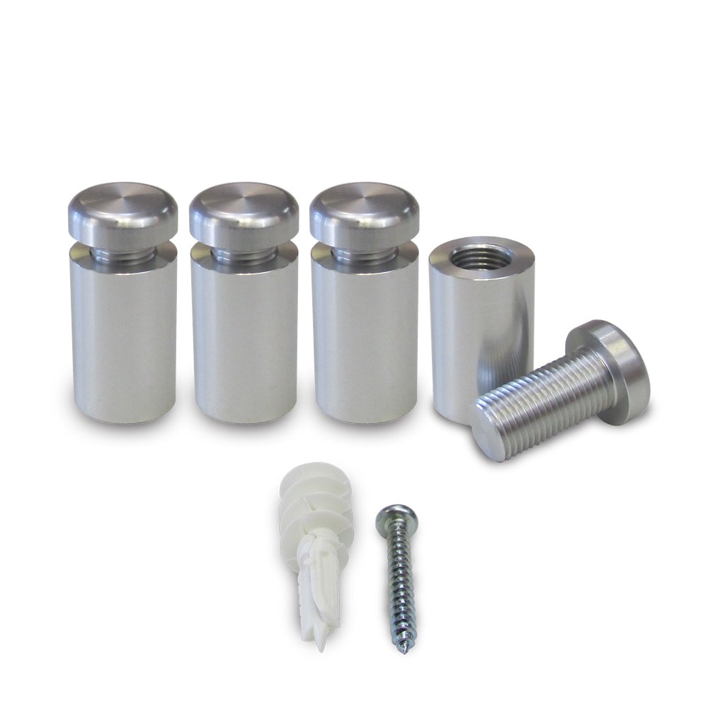 Set of 4. ECONO 2-PART. 5/8 in. Dia. x 1 in. L. Aluminum Sign Standoffs, Clear Anodized Finish. Use for wall mounting signs, architectural plaques, acrylic panels, photographic frames, artwork, etc.