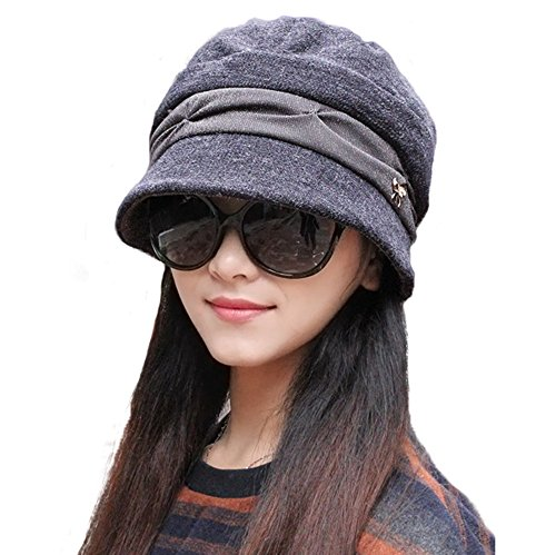 doublebulls hats Knitted Cloche Hat Pleated Flapper Womens Ladies Winter Hat Short Brim Cap, Grey Block Knitted Hat