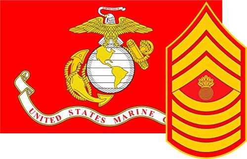 Corps Marine Flag Decal (Marine Corps Flag USMC w/MGySgt Rank Master Gunnery Sergeant Vinyl Decal Sticker Cars Trucks Laptops etc.3.22x5 (Red) (Full Color) (Full Color) (Full Color))