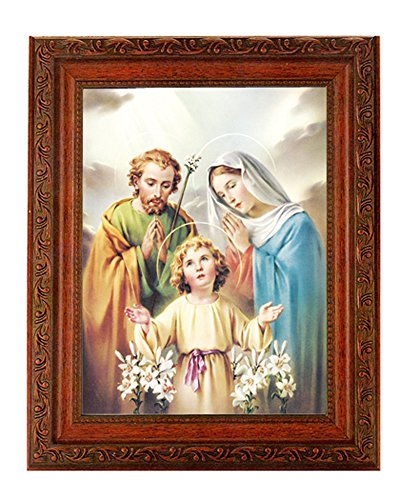 """- Holy Family Print in a Fine Detailed Ornate Antiqued Mahogany Finished 10.25"""" X 12"""" Frame"""