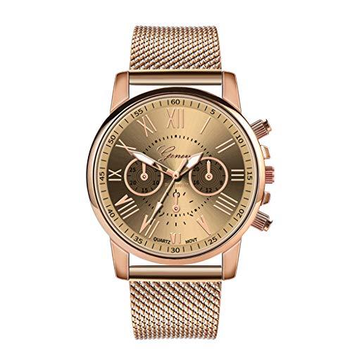 Muranba 2019 ! Luxury Quartz Sport Military Stainless Steel Dial Leather Band Wrist Watch (Beige)