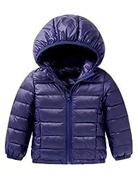 Toddler Winter Down Coat Kids Windproof Puff Hoodie Jacket Lightweight Outerwear