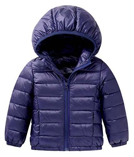 Boys Puff Jacket - Happy Cherry Baby Boys Girls Puff Jacket Winter Hoodie Coat Windproof Lightweight Outerwear Dark Blue Size 110cm