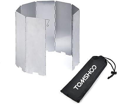 TOMSHOO Estufa Parabrisas Camping Estufas Parabrisas 8 – 10 Placas Plegable Gas Estufa Viento Escudo Ultraligero al Aire Libre Cocina Estufa ...