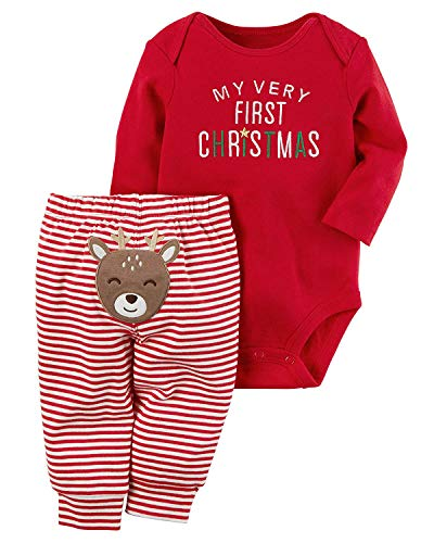 AGAPENG Christmas Outfits Baby Girls Boys My First Christmas Rompers Bodysuit Onesie + Stripe Deer Print Pants 0-3Months for $<!--$14.99-->