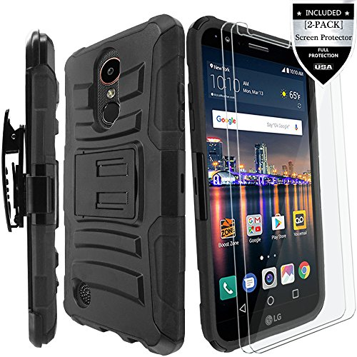 LG K20 Plus Case/LG K20 V Case/LG Harmony Case/LG K20 Case/LG Grace Case with [2-Pack] Screen Protector,IDEA LINE(TM) Armor Shock Proof Dual Layer Combo Holster Kickstand Belt Clip - Black