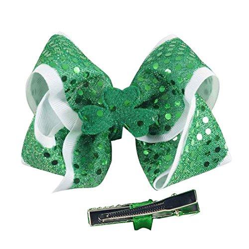 St. Patrick Bow Hair Clips Hairpin Grosgrain Ribbon Bows Holiday Barrettes JHSP07 (A1) Shamrock Hair Clip