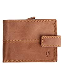 StarHide RFID Blocking Distressed Leather Wallet With Zip Coin Purse 1044 Brown