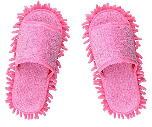 Microfiber Slippers Women's House Slippers Floor Cleaning Mop Floor Dust Cleaning Tool Ladies Slippers (Pink)