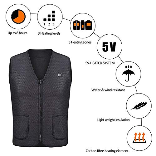 Alexsix Men Vest Winter, Heated Vest Battery Electric Warm Vest for Hunting Camping Winter Outdoor Jacket (L, Black)